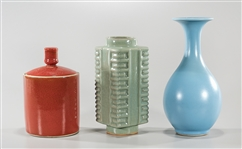 Three Chinese Monochrome Glazed Ceramics