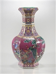 Chinese Enameled Porcelain Hexagonal Vase