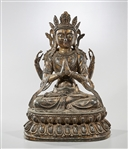 Chinese Parcel-Gilt Bronze Seated Buddha