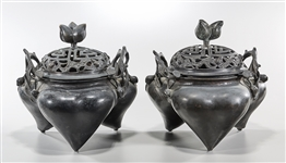 Pair Large Chinese Bronze Tripod Censers
