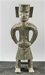 Chinese Painted Metal Archaistic Figure
