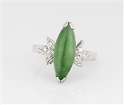 18 Kt White Gold Jadeite & Diamond Navette Ring