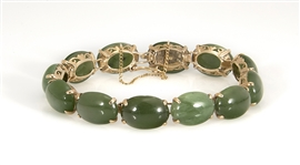 Spinach Jade Cabuchon & Yellow Gold Bracelet