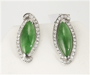 Pair Navette Jadeite & Diamond Ear Clips