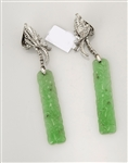 Jadeite White Gold & Diamond Ear Clips