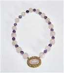 Chinese Rose Quartz and Amethyst Bead Necklace
