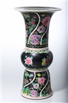 Chinese Black Ground Porcelain Gu-Form Vase