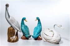 Group of Four Chinese Glazed Porcelain Birds